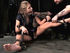 Slave tied in metal and humiliated