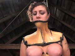 Huge natural tits tied tightly and shocked