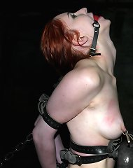 Girl in foot fetish bondage bastinado torment and squirting