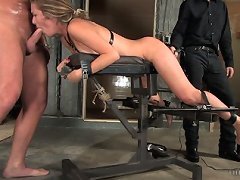 Slave bound, whipped and forced to suck and lick