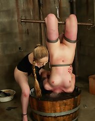 Blonde slut tied and tormented by water